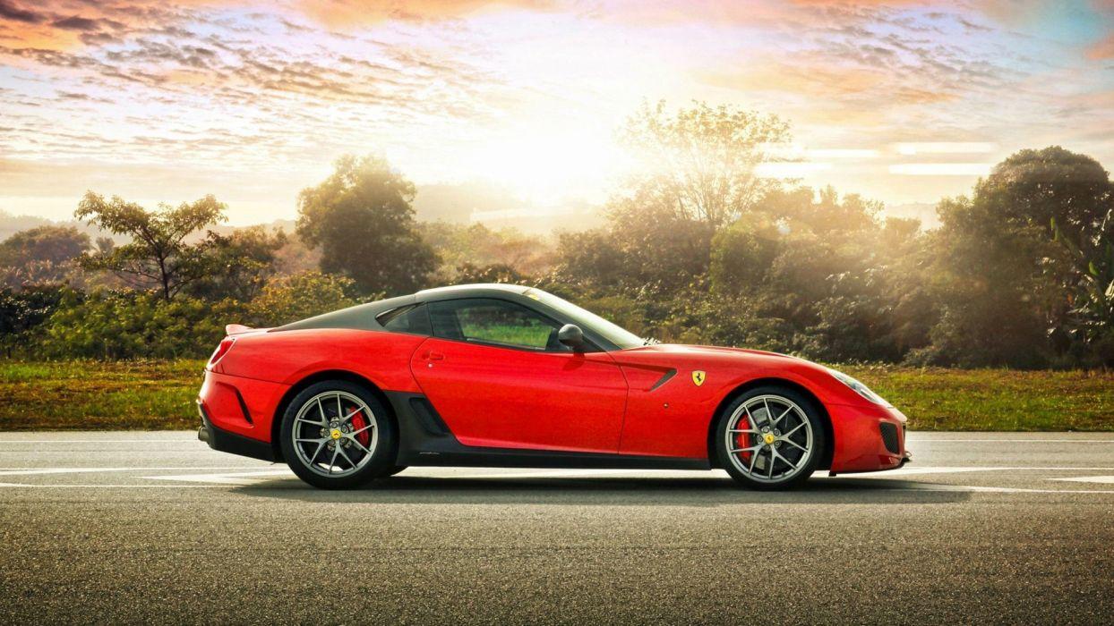 sunset red Ferrari 599 Ferrari 599 GTO side view wallpaper