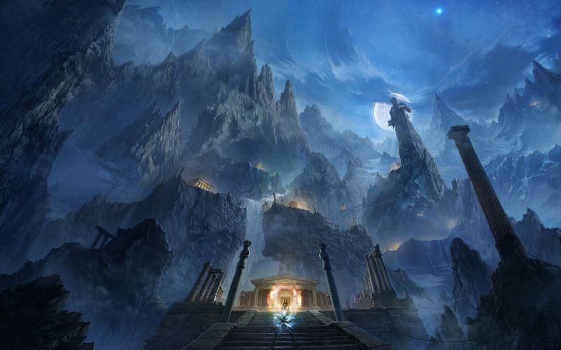 mountains night Moon fight rocks fantasy art magic temples Saint Seiya anime manga greek temples wallpaper