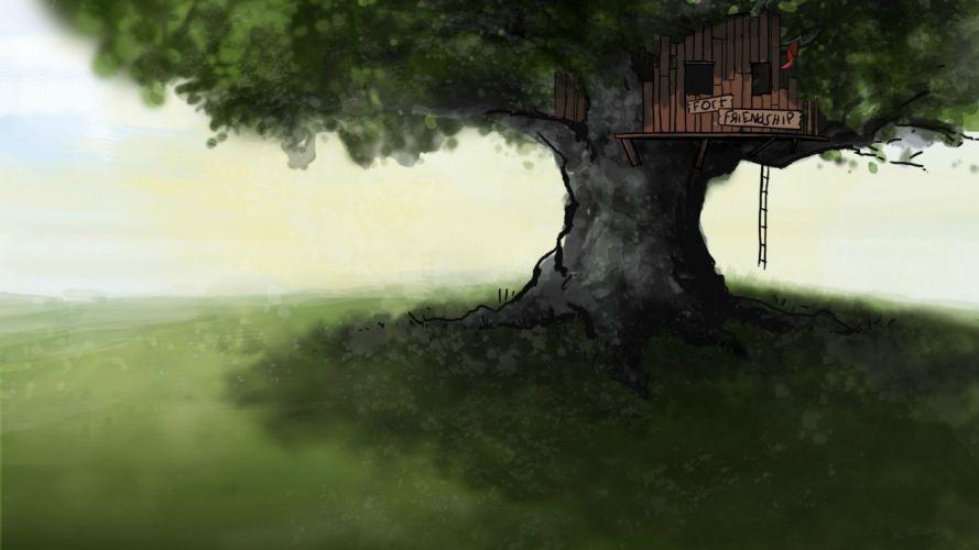 steam trees houses summer friendship Fort children wallpaper