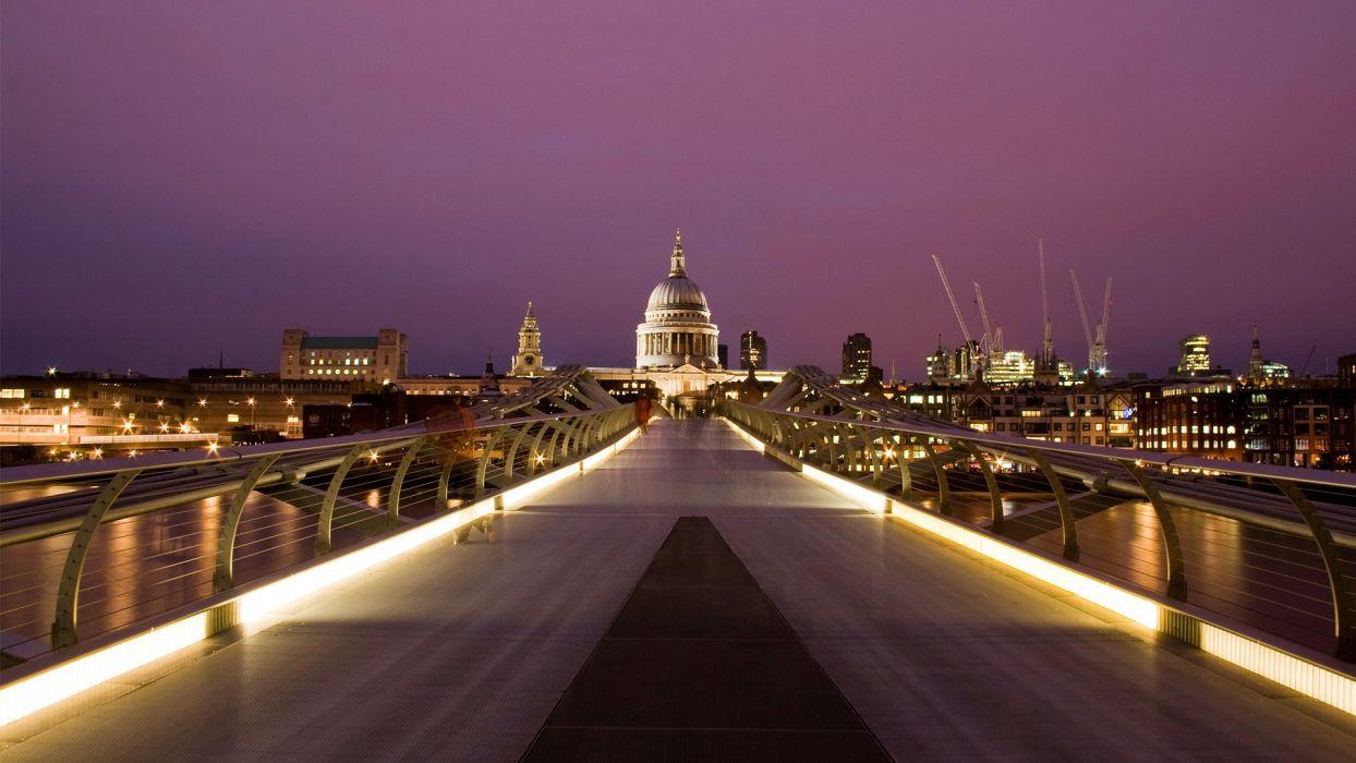 cityscapes London hall urban citylights Millennium Bridge St_ Paul's Cathedral wallpaper