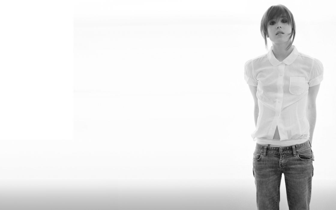 brunettes women jeans Ellen Page grayscale monochrome white background bangs white shirt wallpaper