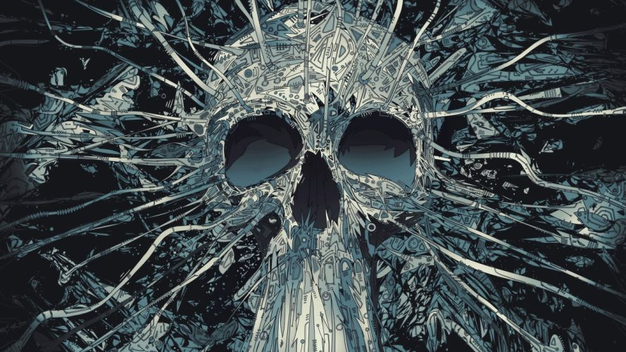 abstract skulls artwork Matei Apostolescu wallpaper