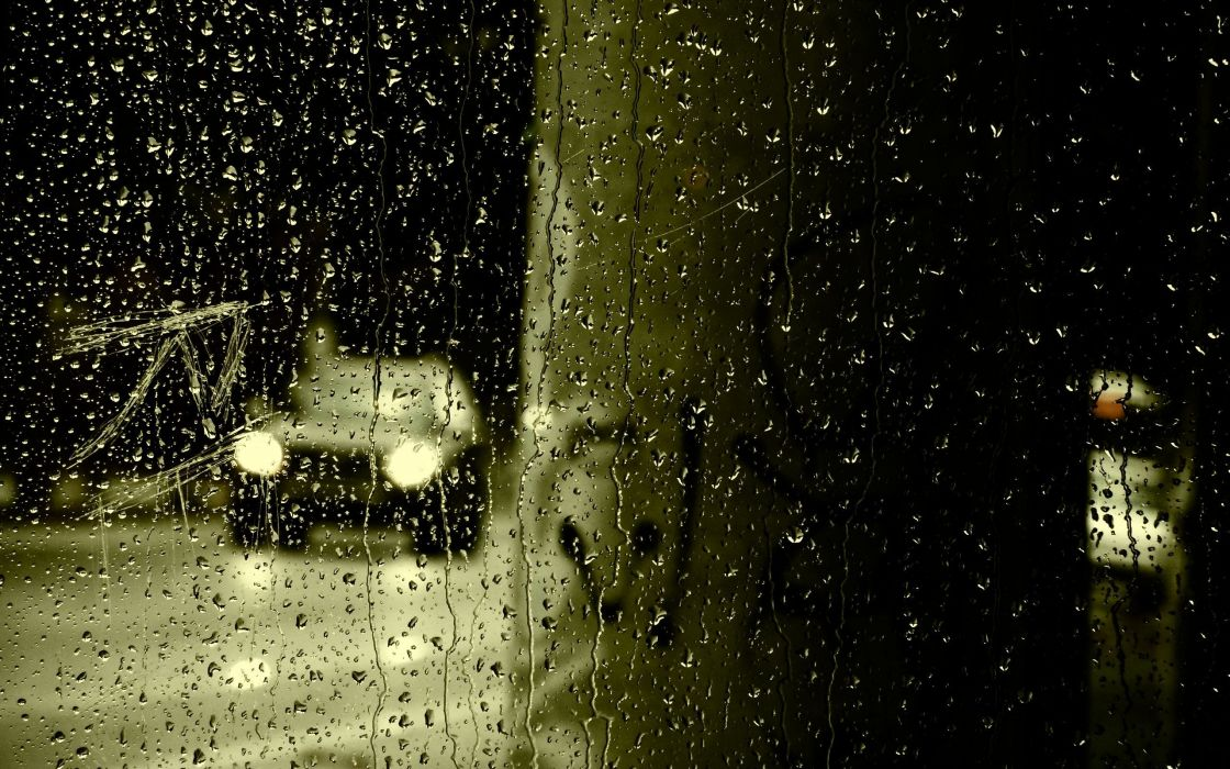 rain cars water drops wallpaper