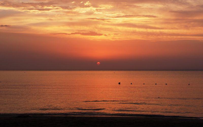 sunset dawn sea beaches wallpaper