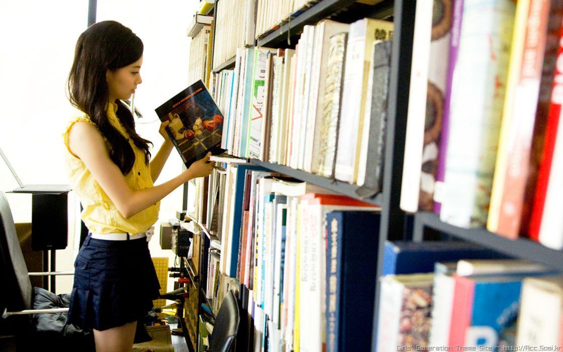 Girls Generation SNSD library celebrity Seohyun singers wallpaper