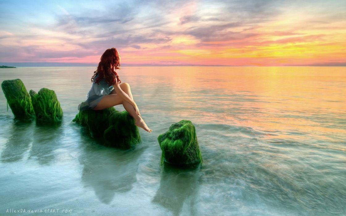 women redheads rocks barefoot fantasy art sitting seaweed sea wallpaper