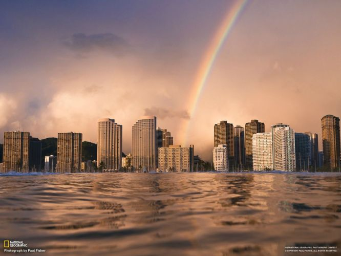 cityscapes architecture Hawaii urban buildings rainbows skyscrapers modern wallpaper