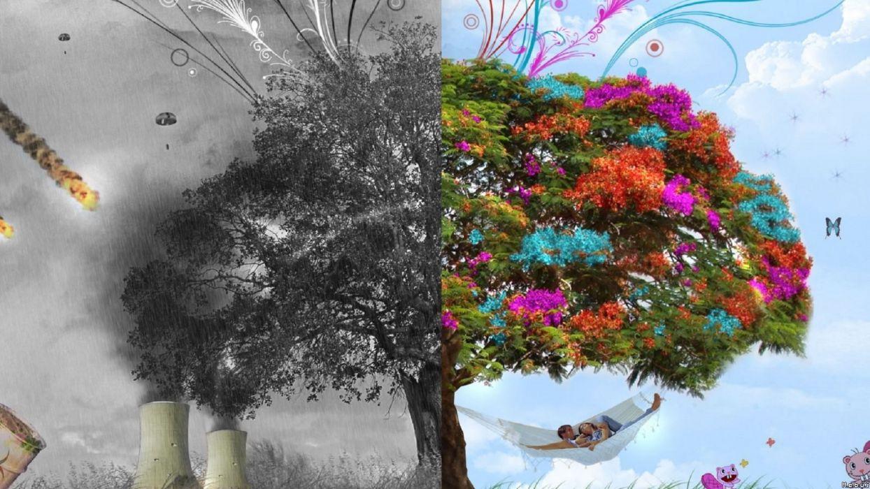 nature trees seasons digital art four seasons wallpaper