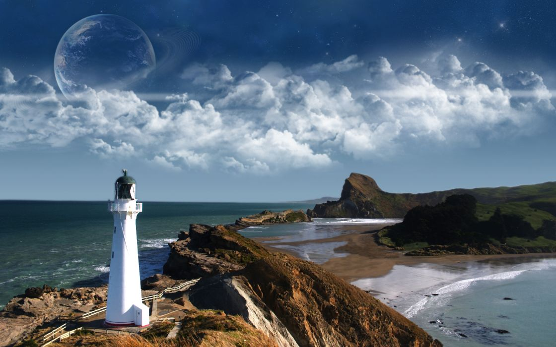 rocks shore lighthouses sea wallpaper