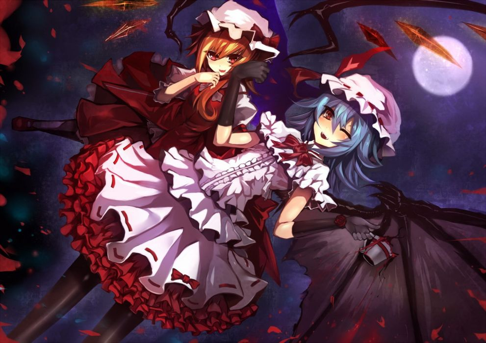 blondes video games Touhou wings gloves dress night Moon cups long hair blue hair vampires pantyhose red eyes short hair crystals bows red dress sisters open mouth ponytails wink Flandre Scarlet white dress hats Full Moon Remilia Scarlet anime girls Embod wallpaper