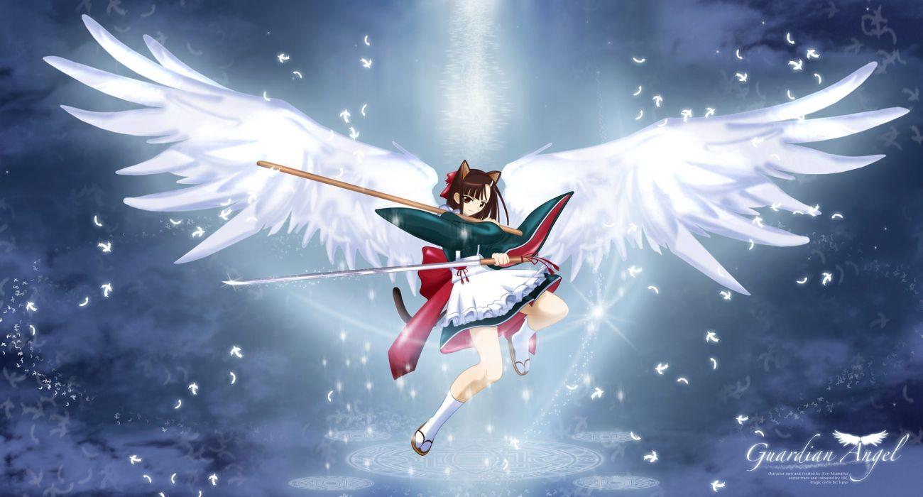 wings Mahou Sensei Negima Sakurazaki Setsuna Japanese clothes wide sleeves wallpaper