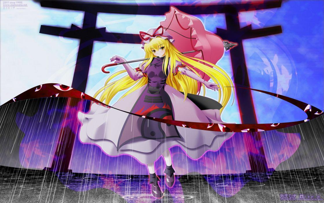 blondes Touhou rain Yakumo Yukari torii umbrellas golden eyes wallpaper