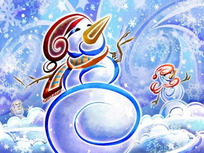 abstract winter snowman wallpaper