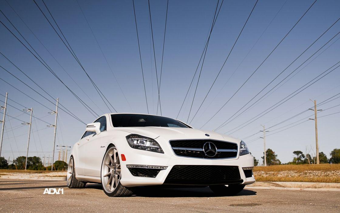 white cars AMG vehicles Mercedes-Benz CLS-Class Mercedes-Benz ADV 1 wallpaper