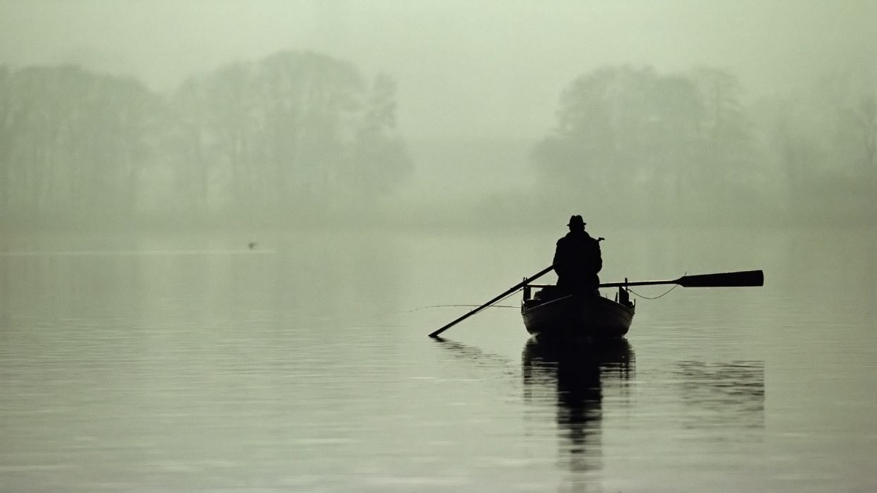 water nature silhouettes ships fog boats monochrome vehicles lakes wallpaper