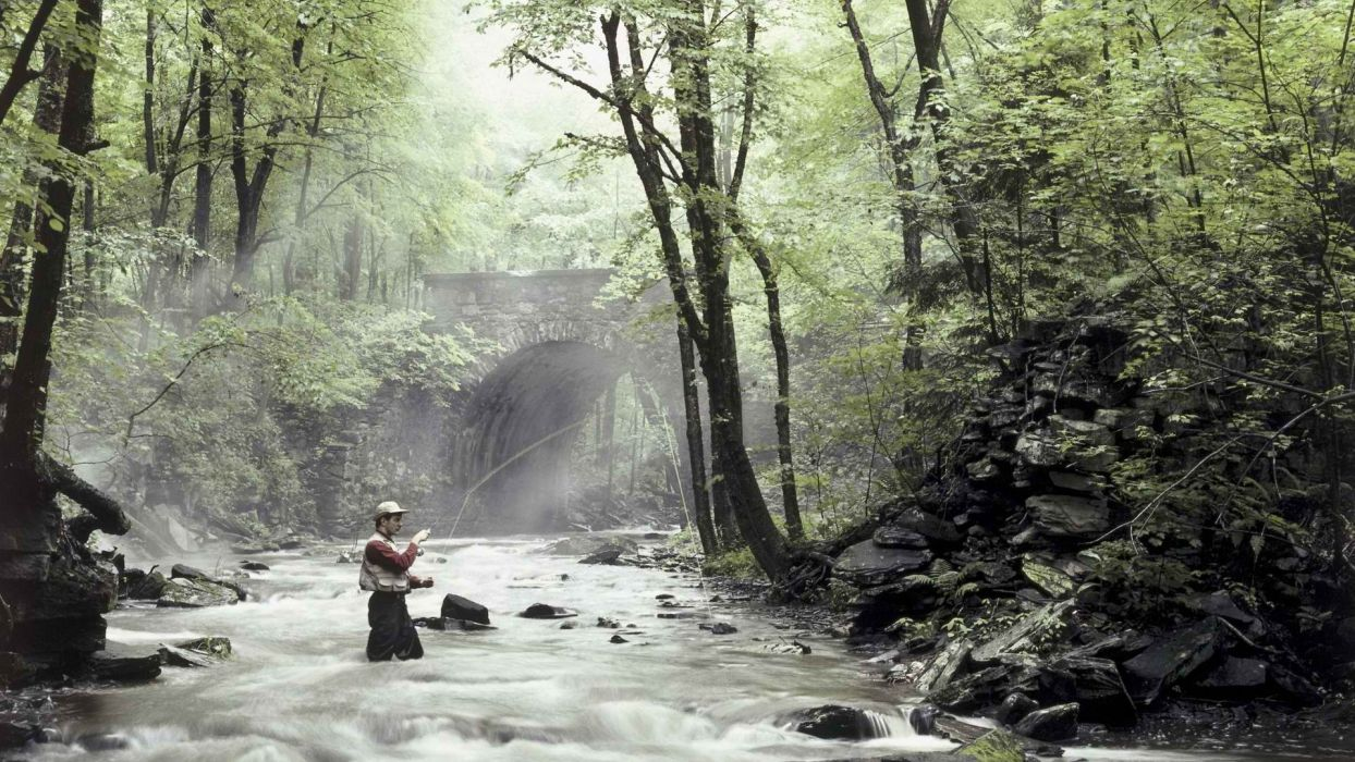 fishing solitude rivers wallpaper