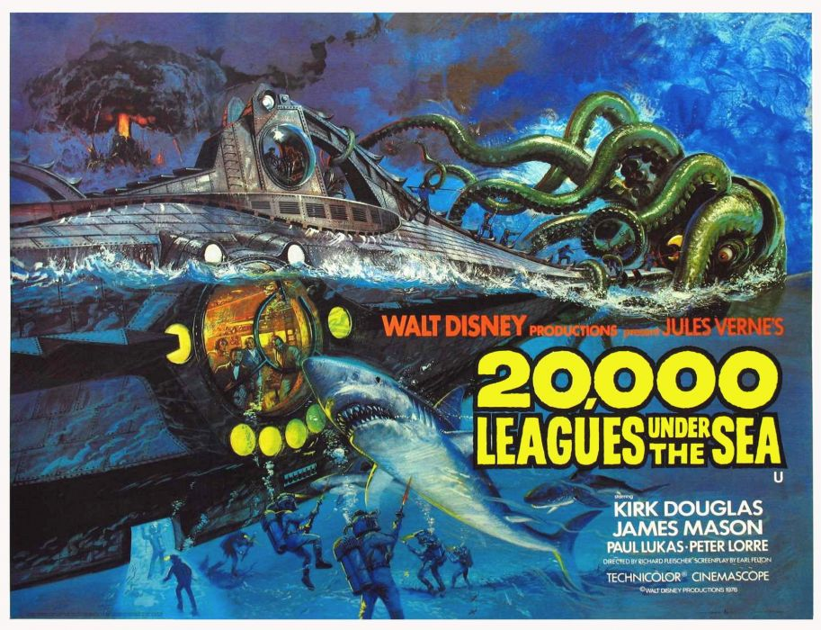 20000 LEAGUES UNDER THE SEA fantasy sci-fi adventure action classic poster g wallpaper