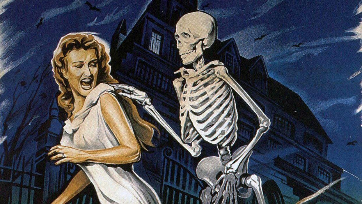 HOUSE ON HAUNTED HILL dark horror poster skeleton   ff wallpaper