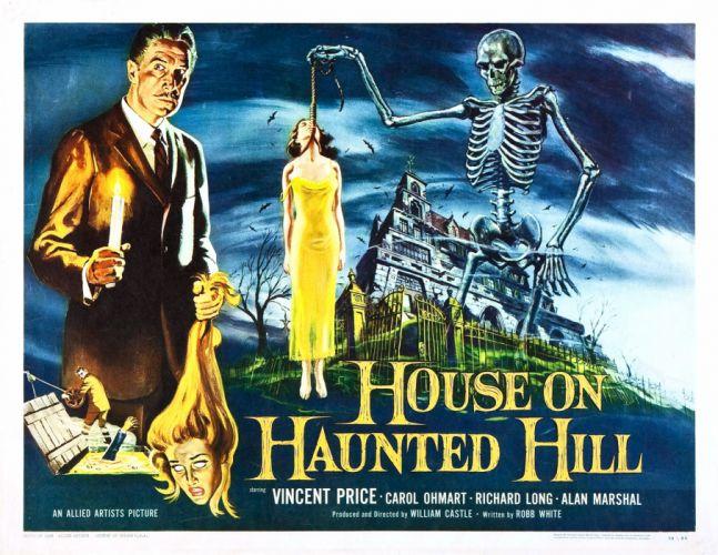 HOUSE ON HAUNTED HILL dark horror poster skeleton f wallpaper