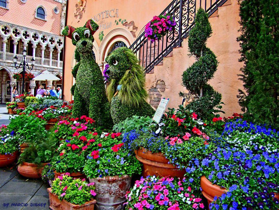 LADY AND THE TRAMP disney flowers garden      h_JPG wallpaper