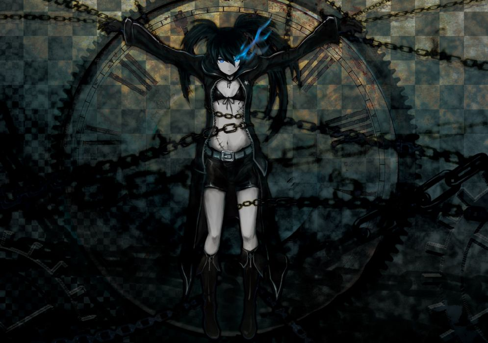 black rock shooter bikini top black hair black rock shooter blue eyes boots bsl chain fire kuroi mato scar shorts twintails wallpaper