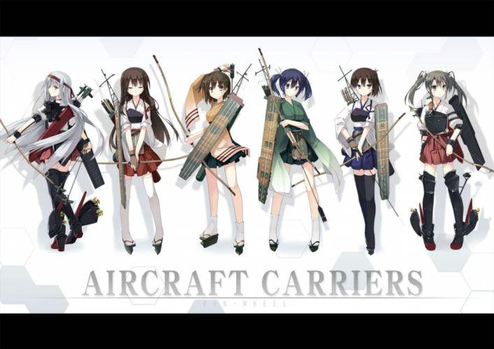 kantai collection akagi (kancolle) bow (weapon) hiryuu (kancolle) kaga (kancolle) kantai collection souryuu (kancolle) t-ray weapon zuikaku (kancolle) wallpaper