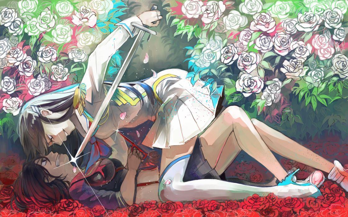 kill la kill girls ajino motoko flowers kill la kill kiryuin satsuki matoi ryuuko rose sword weapon wallpaper