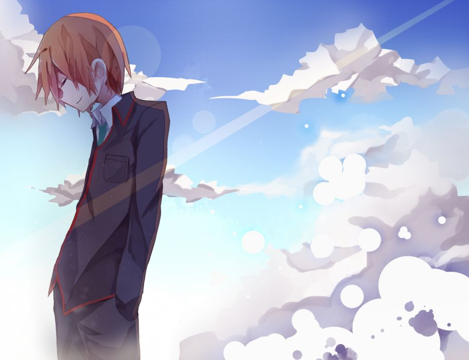 little busters! brown hair clouds little busters! male natsume kyousuke saku qq seifuku short hair sky tie wallpaper