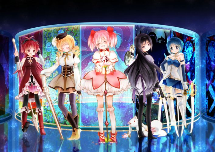 mahou shoujo madoka magica blue eyes boots bow gloves gun hat kyuubee long hair pantyhose petals pink hair ponytail red eyes red hair ribbons skirt spear staff sword weapon wallpaper