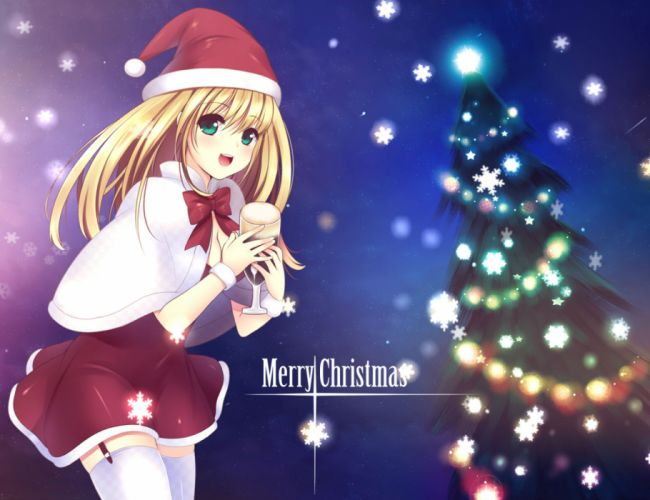 original ainili blonde hair blue eyes bow christmas long hair original santa costume santa hat thighhighs wallpaper