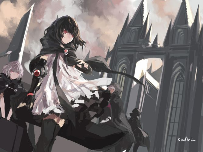 original black hair building cape dress elbow gloves gray hair original red eyes short hair signed swd3e2 thighhighs wallpaper
