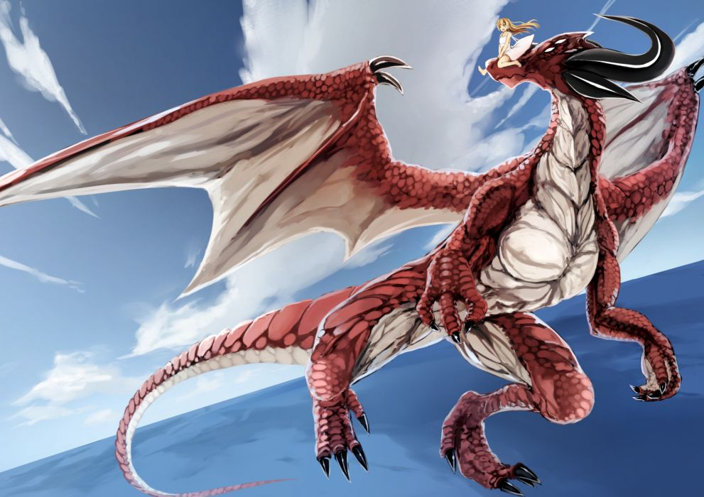 original blonde hair dragon dress kyouya (mukuro238) long hair original sky water wallpaper