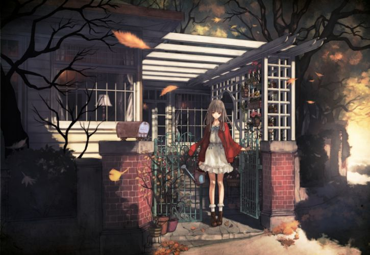 original boots building dress gray hair leaves long hair original socks tree yasukura (shibu11) wallpaper