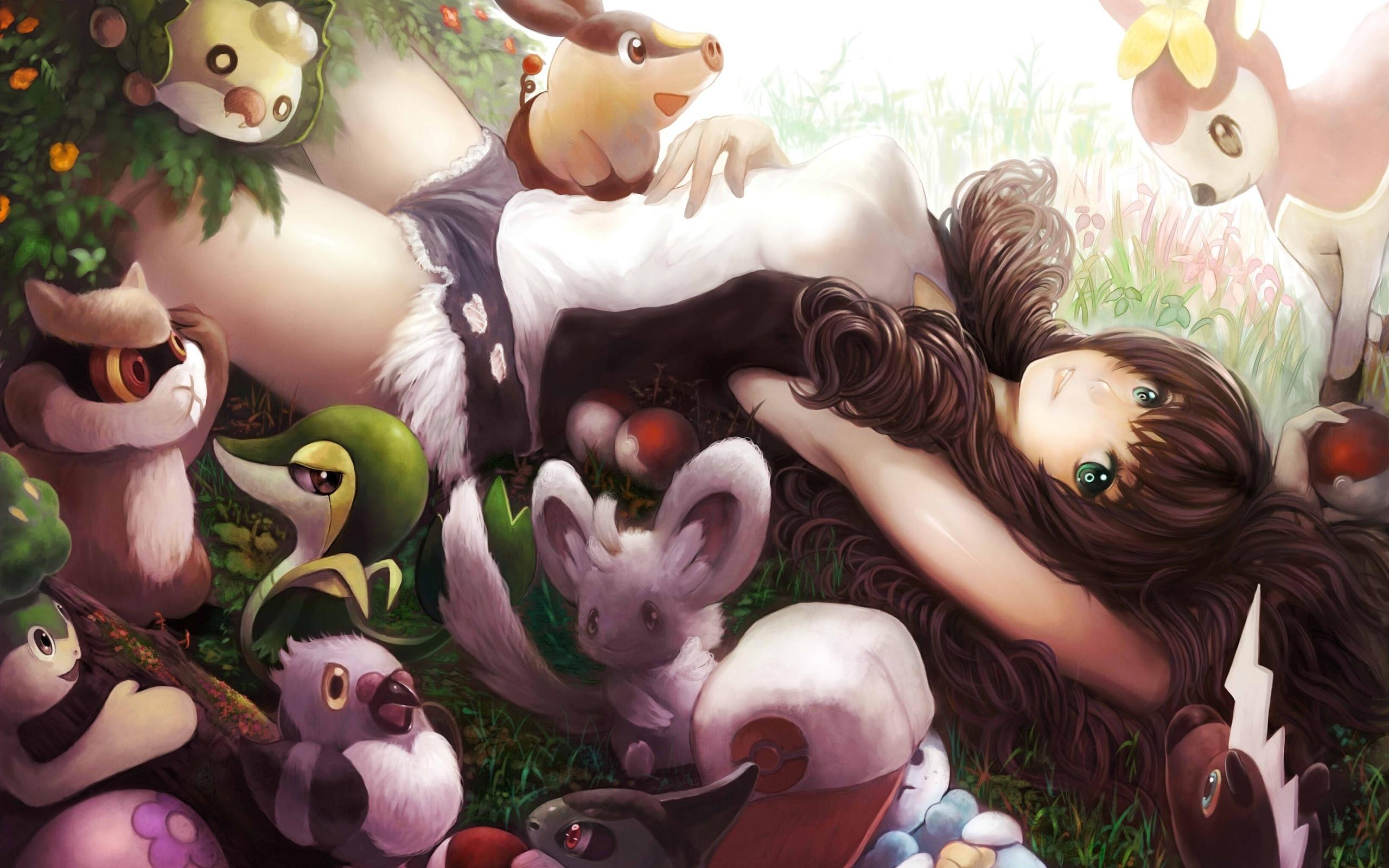 original nature girl animals anime wallpaper 2560x1600