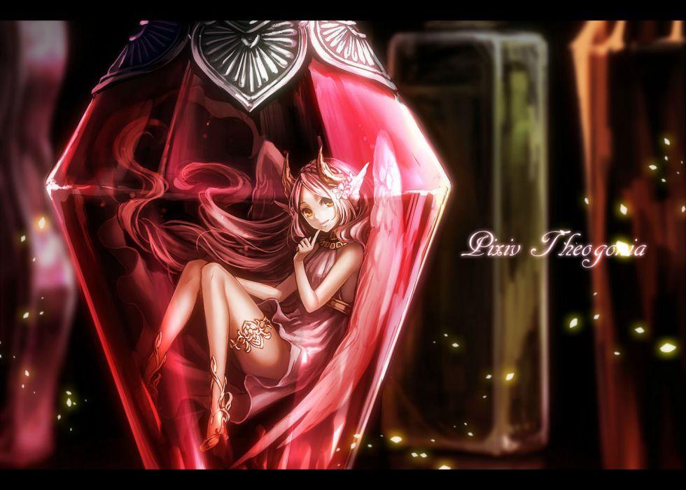 pivix fantasia dress flowers horns long hair sasama keiji white hair wings yellow eyes wallpaper