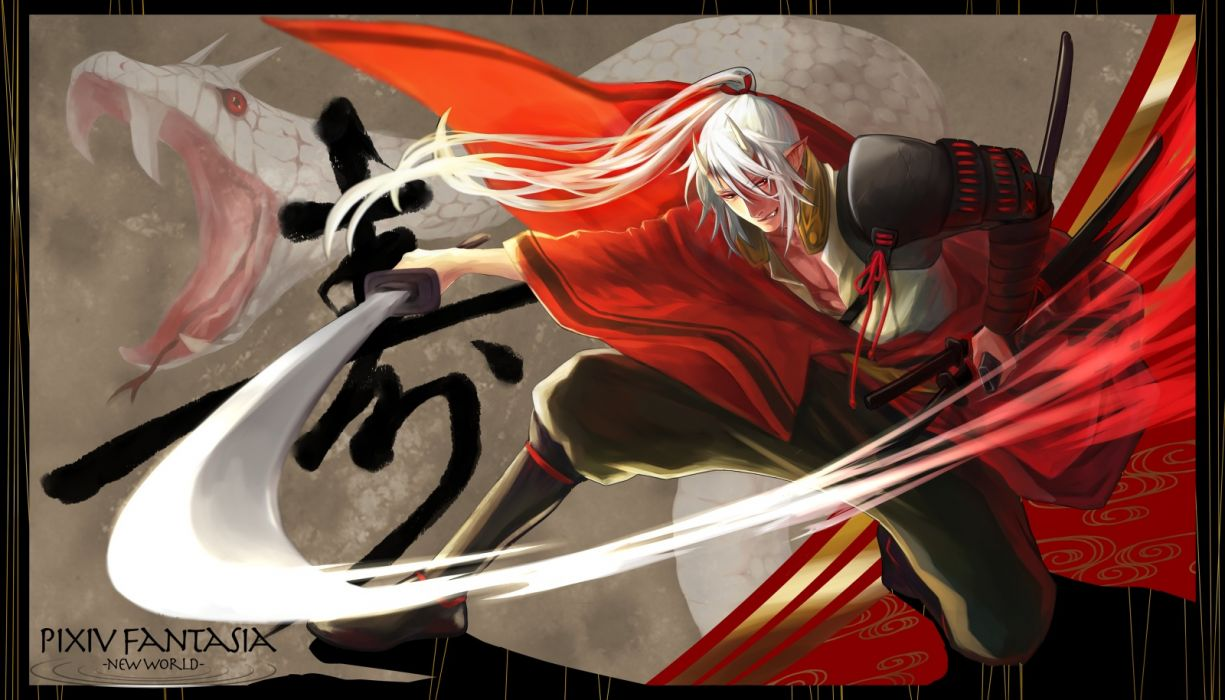 pixiv fantasia animal armor fang horns kagrat katana male open shirt pixiv fantasia pointed ears ponytail red eyes samurai snake sword weapon white hair wallpaper