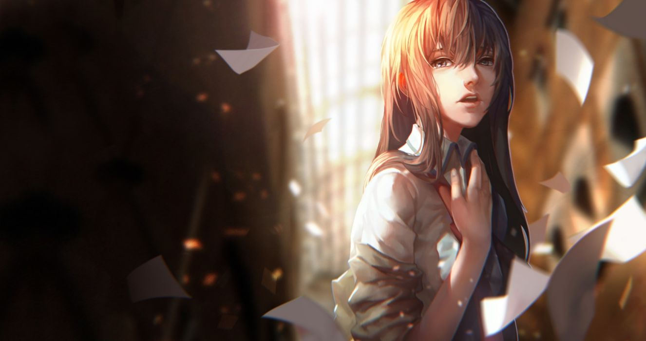 steins gate black eyes brown hair lightofheaven long hair makise kurisu paper photoshop shirt steins;gate tie wallpaper