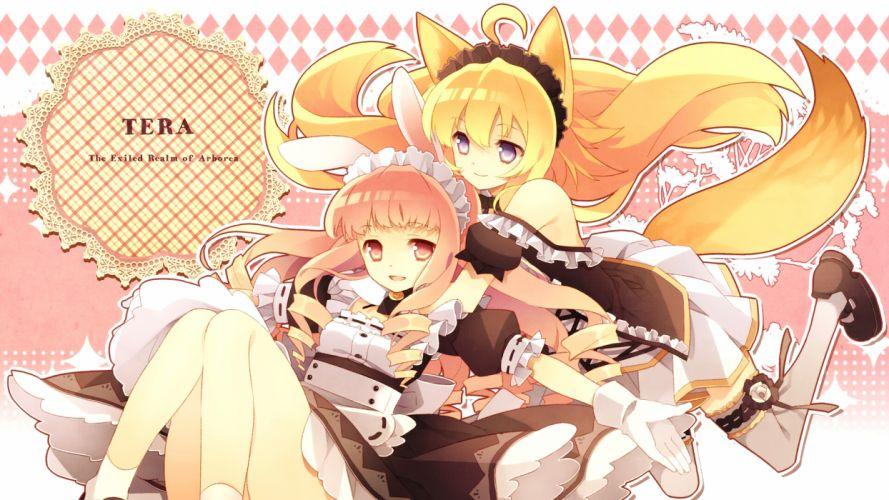 tera online girls animal ears blonde hair blue eyes gloves headdress long hair maid mugura pink eyes pink hair stockings tail tera online thighhighs wallpaper