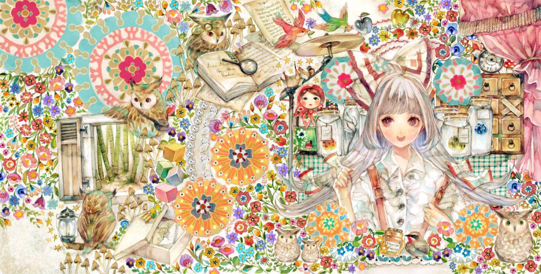 touhou animal apple bird book bow flowers fujiwara no mokou mouse touhou white hair yogisya wallpaper