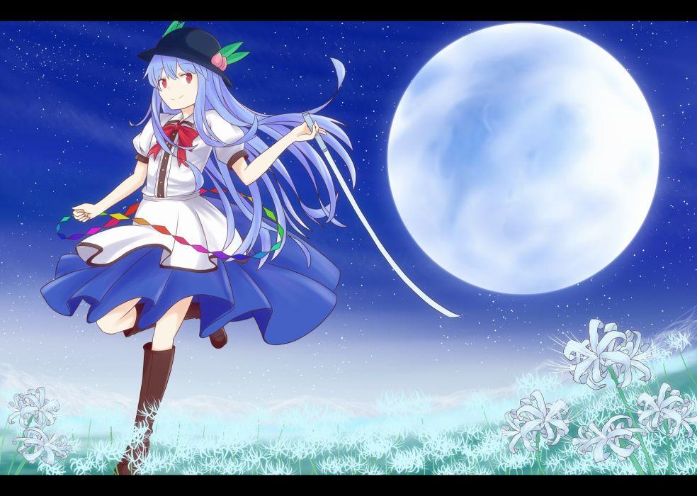 touhou blue hair boots bow flowers grass hat hinanawi tenshi kanimiso-wassyoi moon red eyes sword touhou weapon wallpaper