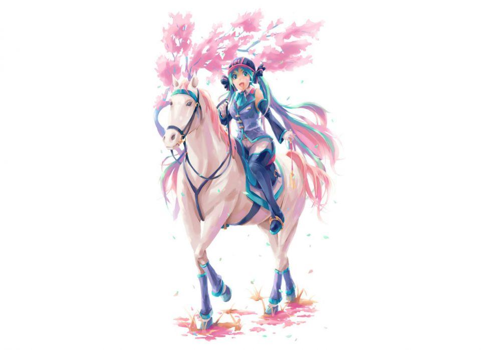 vocaloid animal aqua eyes aqua hair hat hatsune miku horse long hair pixco thighhighs twintails vocaloid white wallpaper