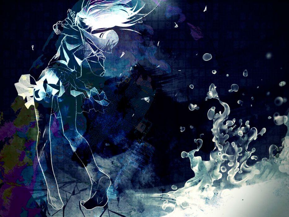 vocaloid barefoot blue keishi long hair original seifuku skirt vocaloid water wallpaper