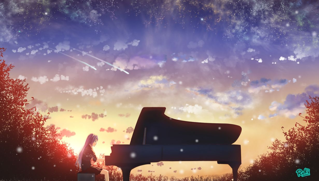 vocaloid aqua eyes blue hair clouds hatsune miku instrument long hair piano reki (artist) skirt sky stars vocaloid wallpaper
