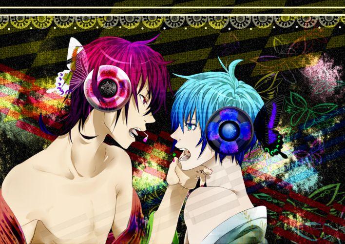 vocaloid blue eyes blue hair butterfly headphones keishi magnet (vocaloid) male original pink eyes pink hair short hair shounen ai vocaloid wings wallpaper
