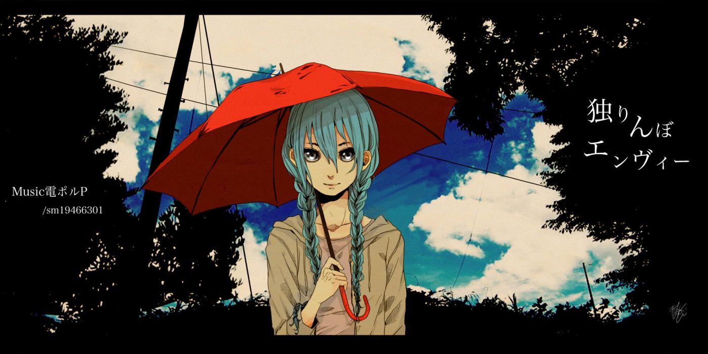 vocaloid braids flowers gray eyes hatsune miku long hair photoshop tagme umbrella vocaloid wallpaper
