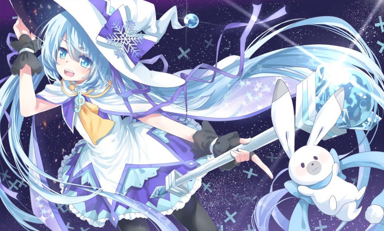 vocaloid bunny hatsune miku transistor vocaloid wand witch hat yuki miku wallpaper