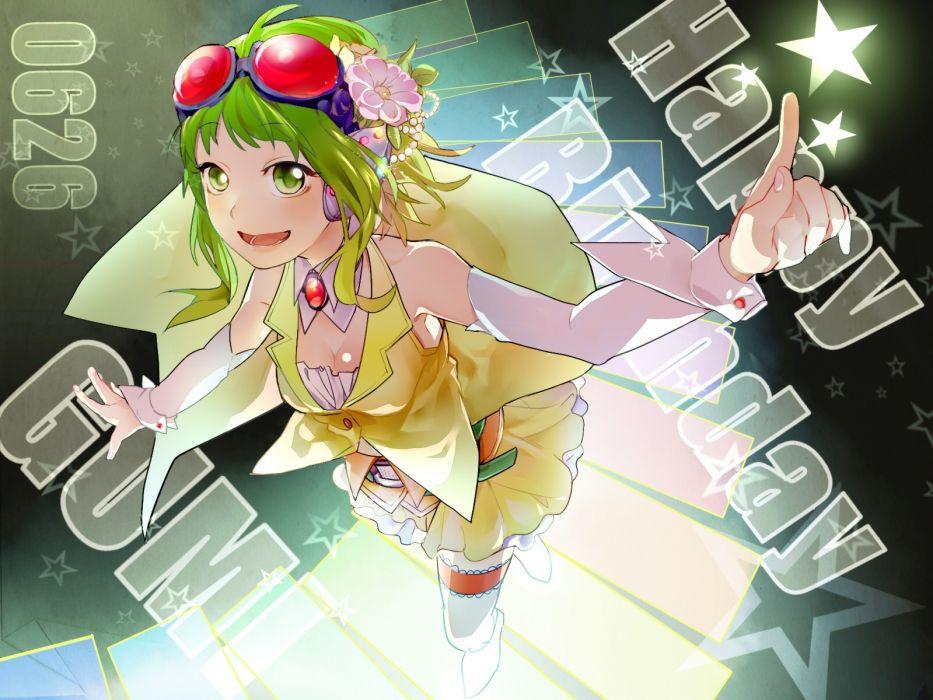 vocaloid flowers goggles green eyes green hair gumi headphones keishi skirt vocaloid wallpaper