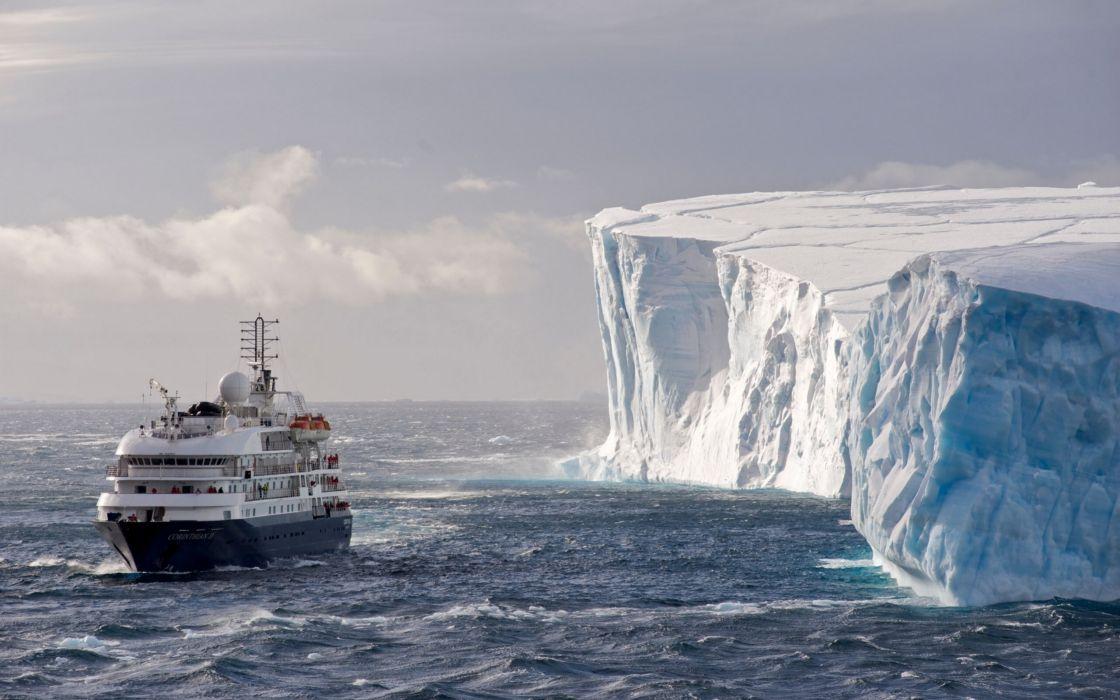 Antarctica liner iceberg ice sea ship boat winter wallpaper