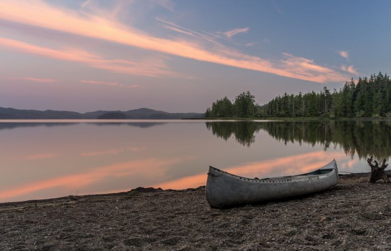boat shore water trees sunset reflection wallpaper