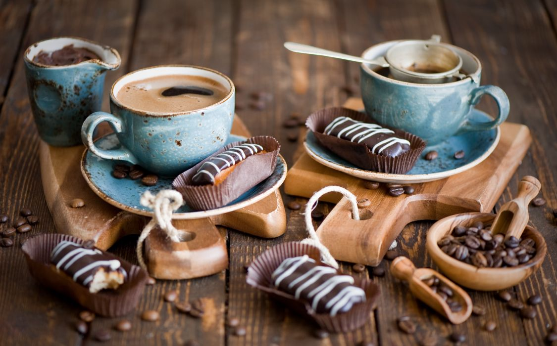 eclairs coffee coffee beans still life wallpaper